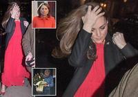 凱特王妃一身紅裙1萬8,素顏疲憊為媽媽慶生,擋臉躲鏡頭超顯老