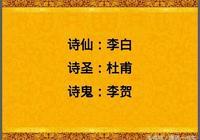 文化:中國的詩仙,詩聖你知道,詩鬼,詩囚,詩佛等你知道嗎