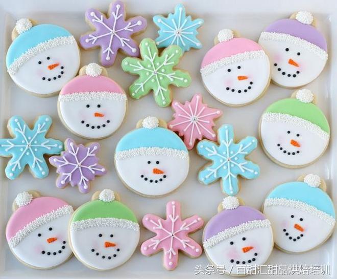 糖霜餅乾裝飾,雪人臉的餅乾