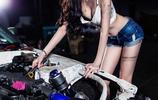 韓國美女模特演繹性感汽車維修工