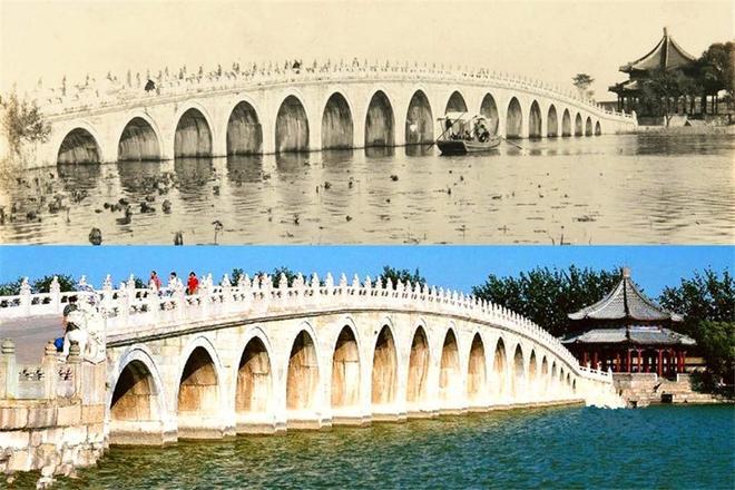 """老照片:國慶熱門景點,100年前古今對比照,圖5為""""盧溝曉月""""碑"""