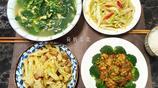 週六一家四人的晚餐,三菜一湯,清淡營養好吃,紅燒鮑魚頭一次做