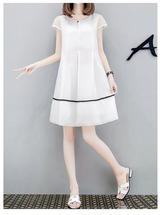 2017新款寬鬆顯瘦高腰中長款時尚A字連衣裙女夏潮