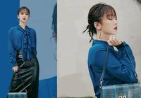 被楊紫的這一身新造型美到了,藍襯衫黑皮裙搭配人魚眼妝又美又颯