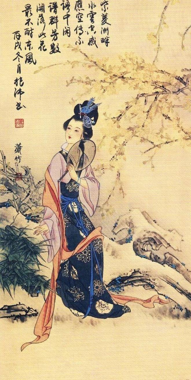 蕭竹 紅樓 工筆仕女圖圖片高清國畫作品欣賞