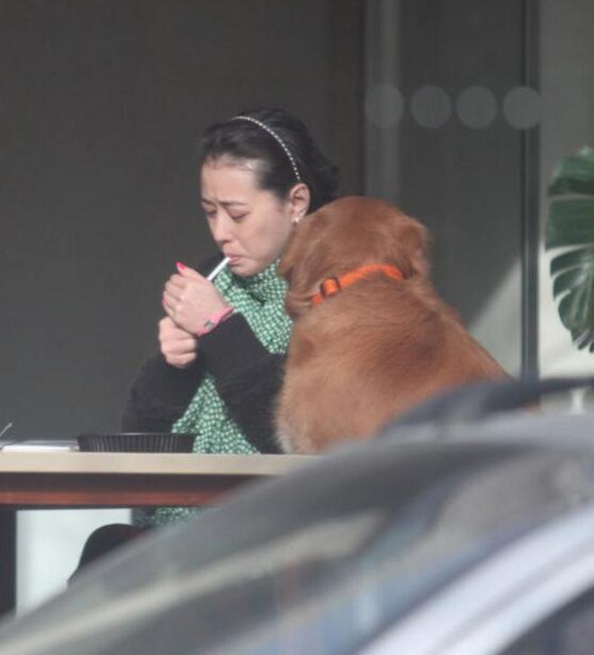 周海媚著奇裝遛狗,吞雲吐霧帶愛犬上桌
