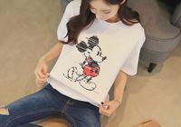 美女孫允珠卡通米奇乖巧簡單短袖白T恤