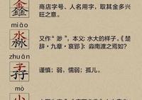 認 漢字 知含義-三個金,三個水,三個田,三個心,三個子