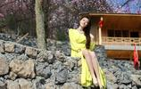 山上的黃連衣裙美女,迷人