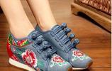 北京老布鞋,秋季新款民族風繡花鞋中跟,防滑透氣舞蹈鞋
