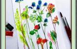 水彩畫-花色