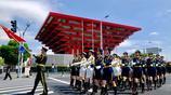英姿颯爽!中國人民解放軍儀仗隊女兵亮相上海合作組織軍樂節