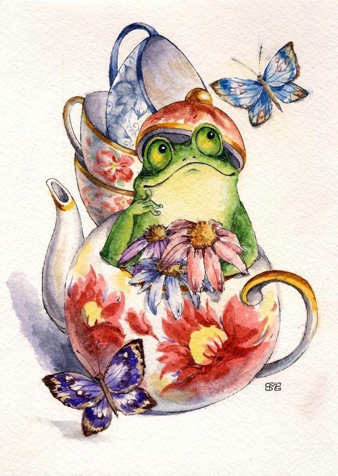 水彩畫:刺蝟,青蛙,松鼠,這些小動物萌翻了