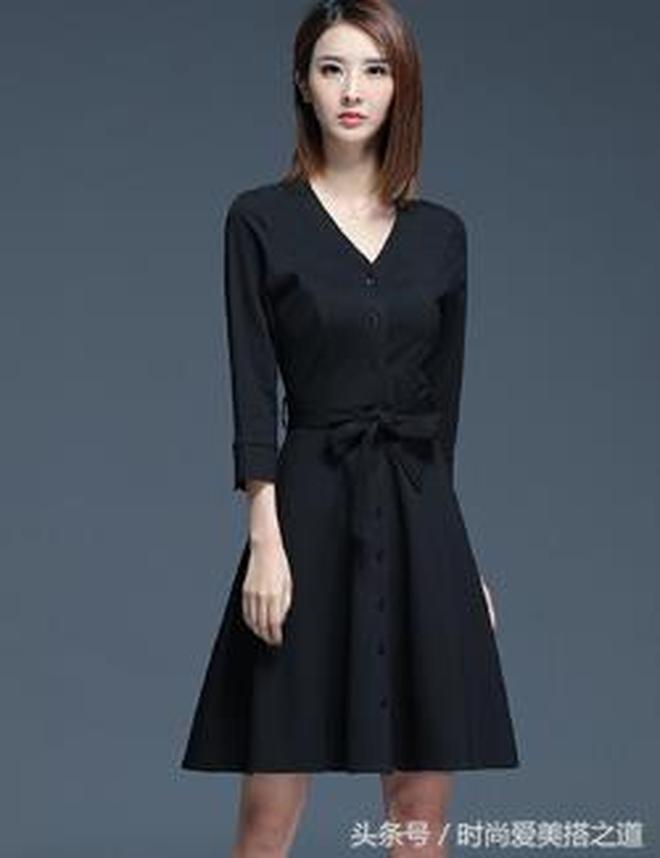 2017秋季新款黑色雪紡連衣裙連衣裙韓版修身時尚中長款氣質A字裙