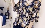 新款女裝孔雀羽毛印花喇叭袖雪紡襯衣上衣寬鬆中袖雪紡衫