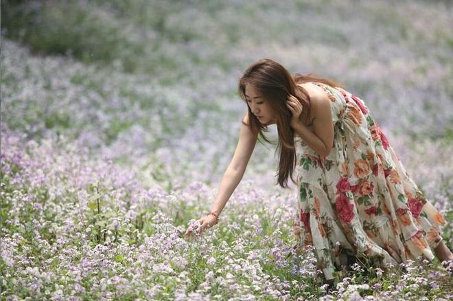 小智圖說-穿吊帶花裙的長髮美女,在滿地紫色小花的樹林裡遊玩!