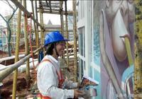 山竹颱風來之前,我們也在堅守海口環球100的彩繪工地