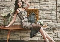 黑色蕾絲吊帶連衣裙,充滿了神祕氣息