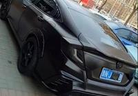山東偶遇爆改思域,全車黑如碳,沒有這藍牌就完美了