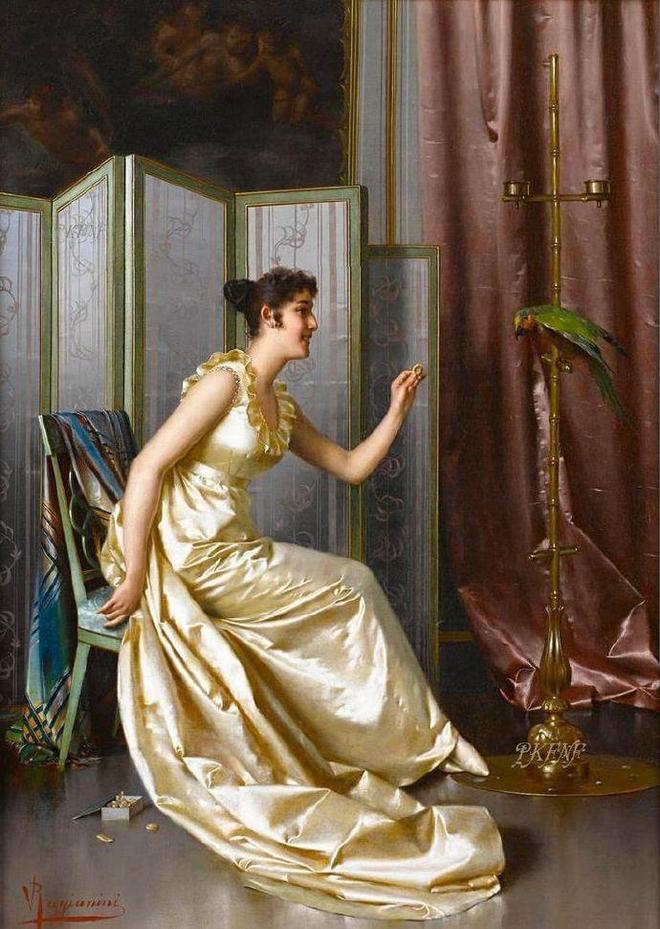 光潔絢麗,意大利畫家維托裡奧·雷格尼尼筆下的宮廷美人