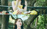 林允兒的夏日檸檬色長裙,搭配波浪披肩長髮,真的是太美了