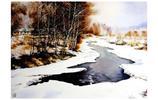 戴劍波水彩畫家《北國之春 激流融雪》