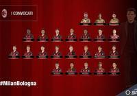 米蘭對陣博洛尼亞大名單:蘇索和德西利奧缺陣