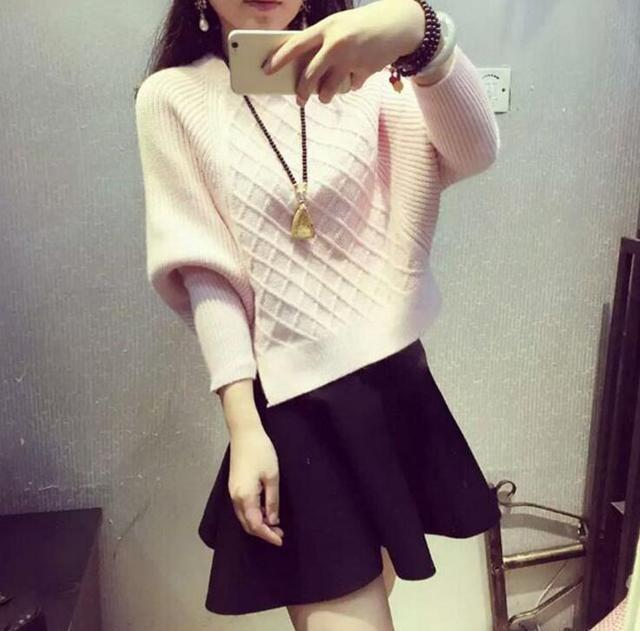 2017秋冬新款女裝韓版修身顯瘦打底衫針織衫 女氣質蝙蝠袖毛衣女