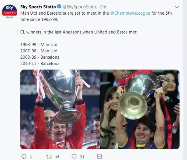 只要曼聯撞上巴薩,歐冠冠軍從未旁落他人