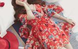 夏季2017新款甜美荷葉袖v領碎花雪紡連衣裙收腰繫帶印花中長裙子