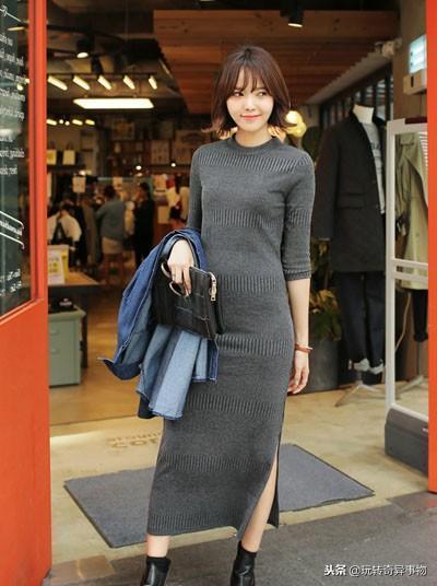 冬季怎麼長裙搭配、毛線裙很流行呢