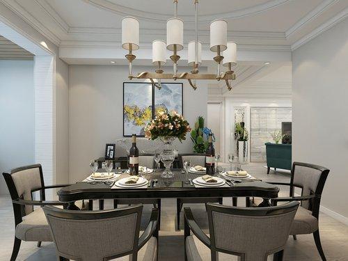 銀川天都16區130平客餐廳裝修效果圖,歐式風,總預算18萬