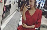 2017秋裝新款女裝韓版顯瘦氣質小心機裙子名媛小香風大紅色連衣裙