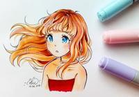 23張線稿帶上色稿動漫手繪插畫,彩鉛水彩馬克筆上色都有,實用!
