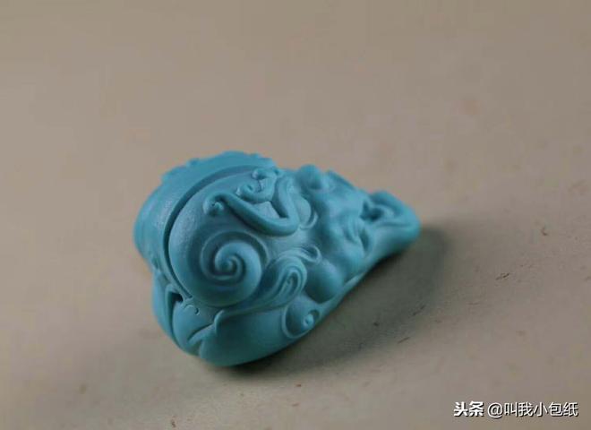 原礦綠松石獸面雕件雕刻件手把件擺件