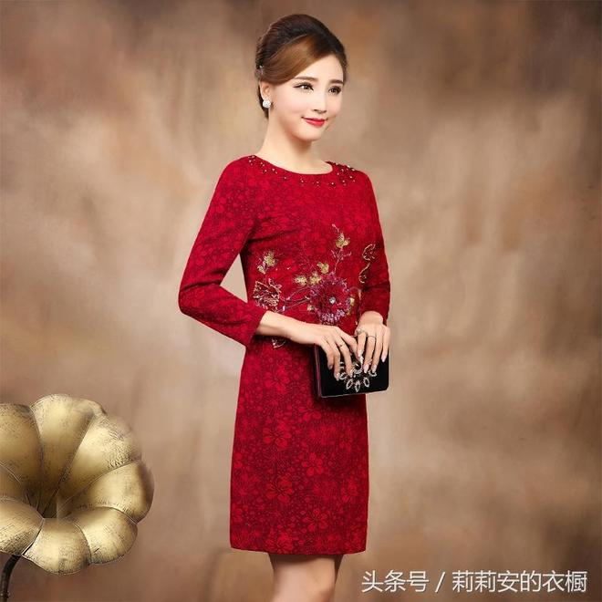 38+媽媽穿膩了褲子換件旗袍連衣裙,上身優雅大方減齡還顯瘦一圈