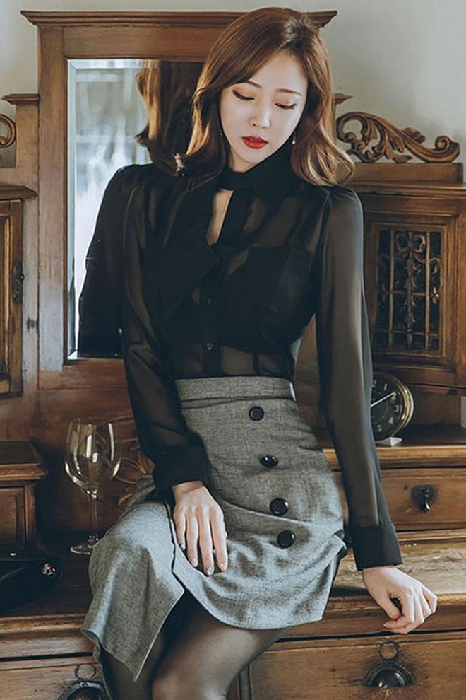 潮流時尚穿搭:修身雪紡衫薄款黑色長袖,女人味十足