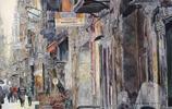 華麗的街道,美國畫家John T. Salminen水彩畫欣賞