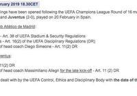 官方:西蒙尼、阿萊格里歐冠行為不當,處罰待公佈