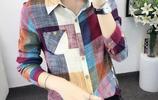 韓版印花清新減齡翻領修身雪紡襯衫,搭配小腳褲,休閒百搭還不貴