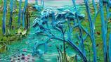 用調色刀以各類丙烯顏料為介質繪成的畫,美極了!