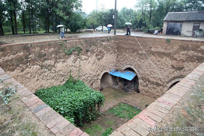 農村地坑院下雨天農民足不出戶,看他們生活是啥樣