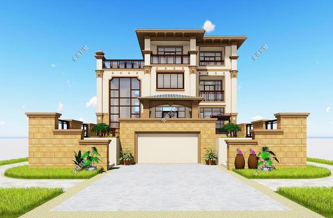 5款超有設計感的精美歐式別墅,2層3層的都有,效果圖+平面圖!