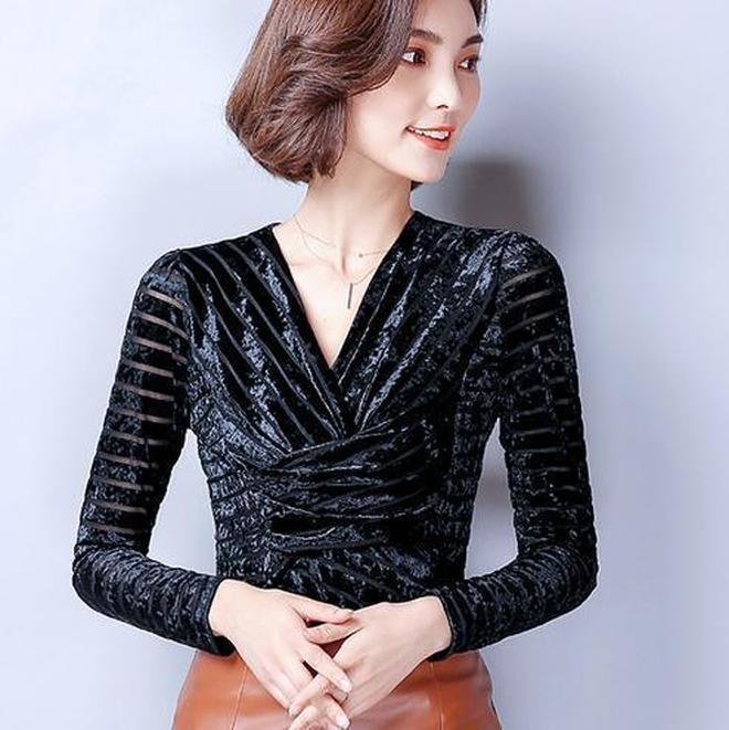2017秋裝新款V領修身襯衫,長袖雪紡衫襯衣