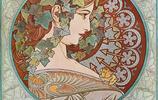 浪漫柔美穆夏風插畫,來自新藝術運動的代表穆夏作品欣賞