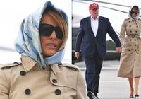 梅拉尼婭一身俏皮風離開歐洲!卡其色風衣配花頭巾模仿英國女王?