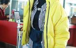 霍思燕穿黃色大衣出鏡,潮範十足帶,帶墨鏡神似古力娜扎
