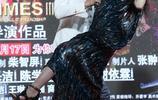 郭碧婷一襲亮面長裙,腳踩那麼高的高跟鞋,一般人都駕馭不了
