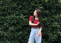 """鞠婧禕變""""行走衣架"""",紅色短T配牛仔褲,158身高穿成178既視感"""