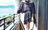 古力娜扎戛納私服街拍,褲裝與裙裝搭配演繹不同分格 清新怡人